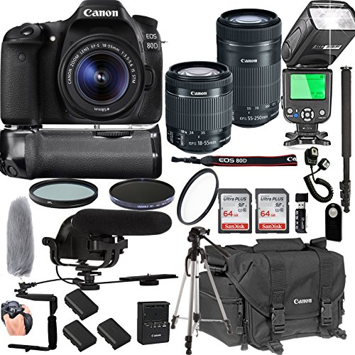 Canon EOS 80D with 18-55mm & 55-250mm is STM Lenses + 128GB Memory + Canon Deluxe Camera Bag + Pro Battery Bundle + Power Grip + Microphone + TTL Speed Light + Pro Filters,(24pc Bundle)