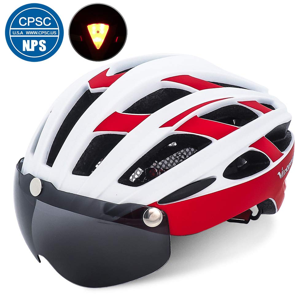 2dbcc17c Victgoal Cycle Bike Helmet with Detachable Magnetic Goggles Visor Shield  for Women Men, Cycling Mountain & Road Bicycle Helmets Adjustable Adult  Safety ...
