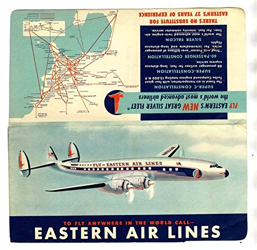 Eastern Airlines Ticket & Ticket Jacket with Constellation Route Map 1956 Constellation Airline