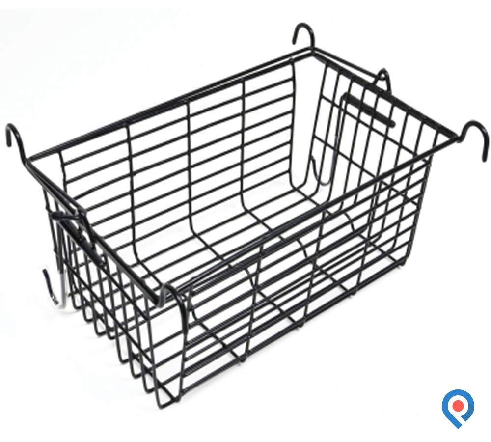 Pivit Universal Snap-On Rolling Rollator Basket | Keep Your Hands Free While You Shop Or Walk | Attractive Rust-Proof Black Metal Wire Carrier | Large Storage Easily Carries & Protects All Your Items
