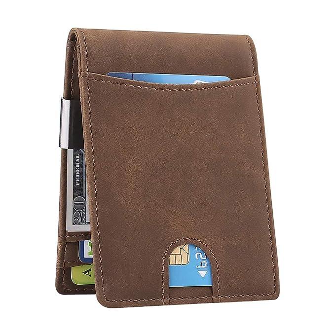 928a704fb510 Amazon.com  BEARTWO RFID Blocking Bifold Money Clip Wallet