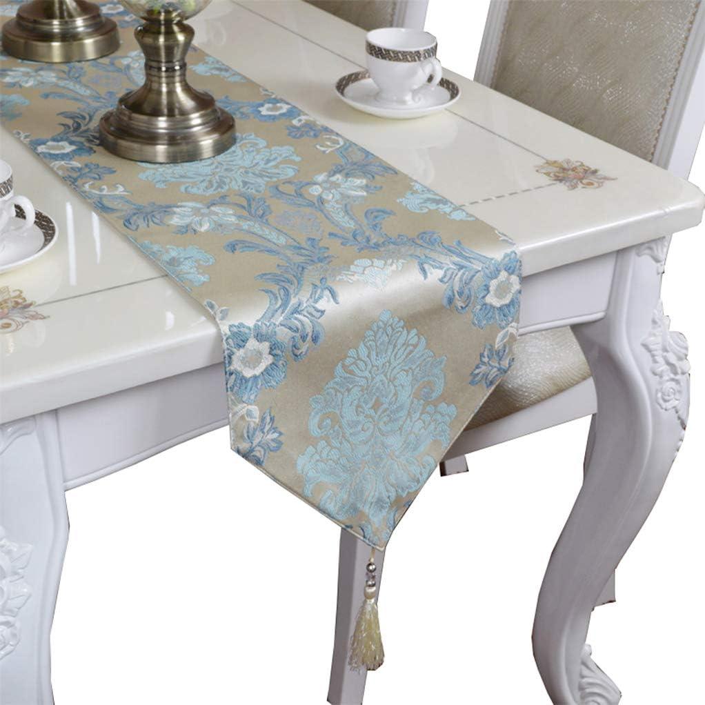 EGROON 上品 豪華 テーブルランナー 優雅 テーブルクロス 食卓カバー テーブルカバー テーブルマット ブルー B