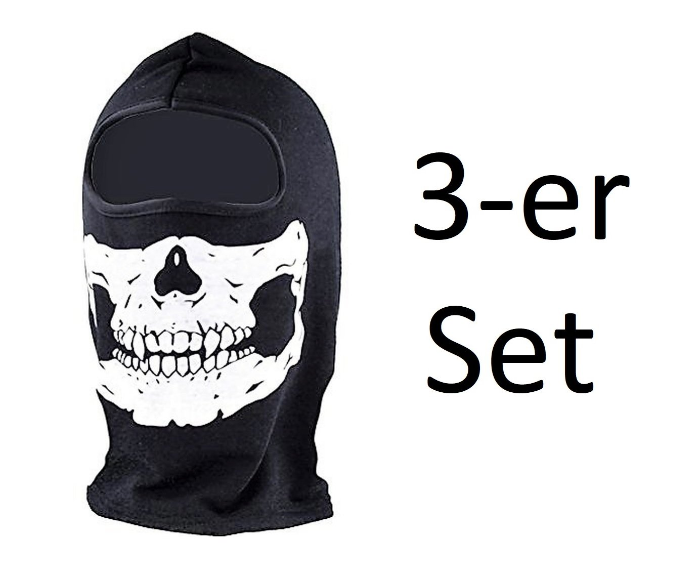 3er SET - Sturmhaube Sturmmaske Motorrad Fahrrad Paintball Gesichtsmaske - 3-Loch Variante - Acryl - Schwarz (3-er Set 3 Loch Maske) Perdules