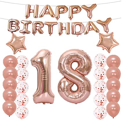LQQDD 18th Birthday Decorations Party Supplies18th Balloons Rose GoldNumber 18 Mylar