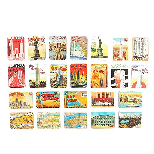 New York souvenirs Refrigerator magnets set of 24 magnetic fridge home decoration accessories arts crafts gifts 6.5 X 4.5 in (Large)