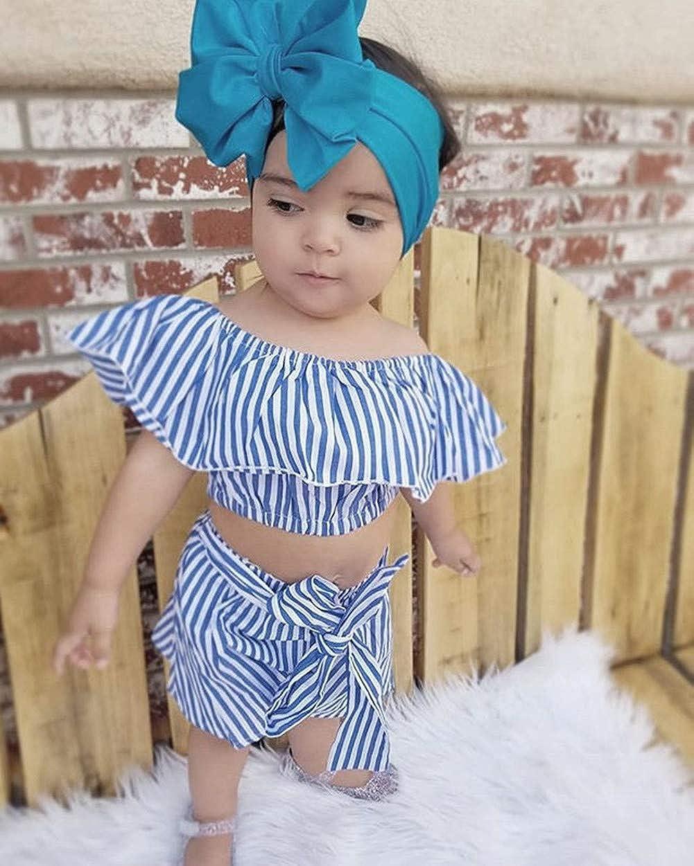 Toddler Baby Girl Ruffle T-Shirt Crop Tops High Waist Bowknot Shorts Pants Kids Summer Sleeveless Stripe Outfits Clothes
