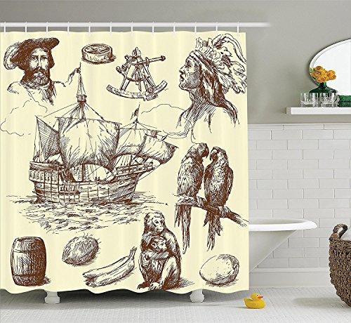 [Nautical Decor Shower Curtain Set Merchant Ship Banana Monkey Parrot Boat Historical Sketch Style Artwork Bathroom] (Parrot Costume Ebay)
