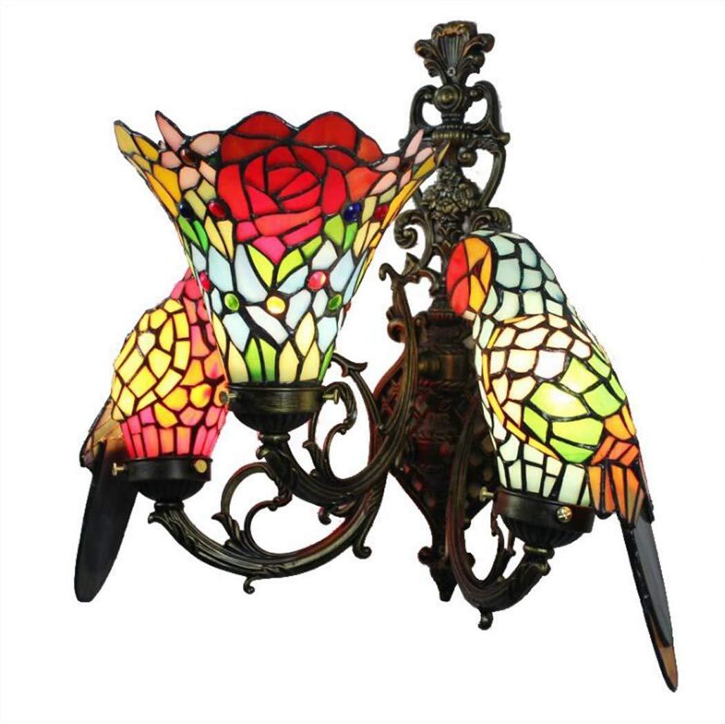 GJX Tiffany-Stil-Wandleuchte-europäische kreative DREI Lichter beflecktes beflecktes Buntglas- / Papageien-Design-Wandleuchten, Wohnzimmer-Esszimmer-Schlafzimmer-dekorative Wand-Wandlampe, Max40W