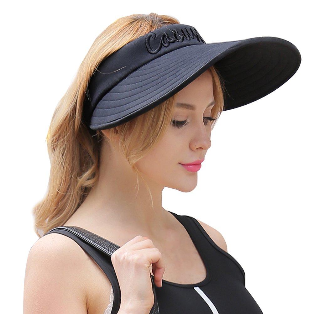 CACUSS Women's Summer Sun Hat Large Brim Visor Adjustable Velcro Packable UPF 50+(Black)