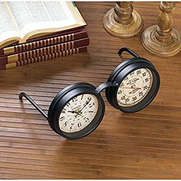 Clocks VINTAGE SPECTACLES TABLETOP CLOCK Glasses Desk Table Bar Mantle Gift  Room Iron Paper Glass Fun