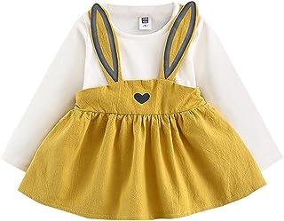 ODJOY-FAN-0-3 anni Autumn Baby Ragazza del bambino Abito con bende di coniglio carino Mini vestito- primavera Bambino bambini piccolo -Neonata Coniglio Orecchio Vestito Plaid Tutu