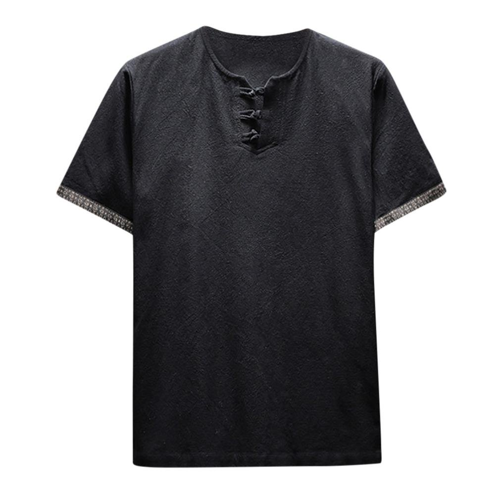Pervobs Men Shirts, Men's Summer Casual Short Sleeve Linen and Cotton Solid V-Neck T-Shirt Top Blouse Tee (M, Black)