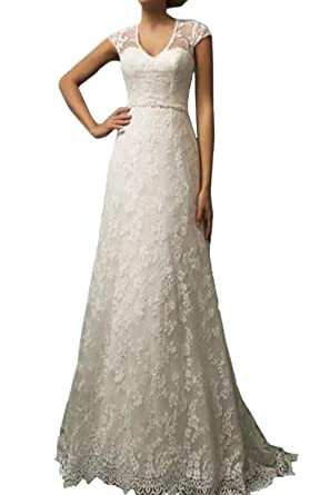 Honey Qiao Vintage Lace Country Wedding Dresses Cap Sleeve Sheer ...