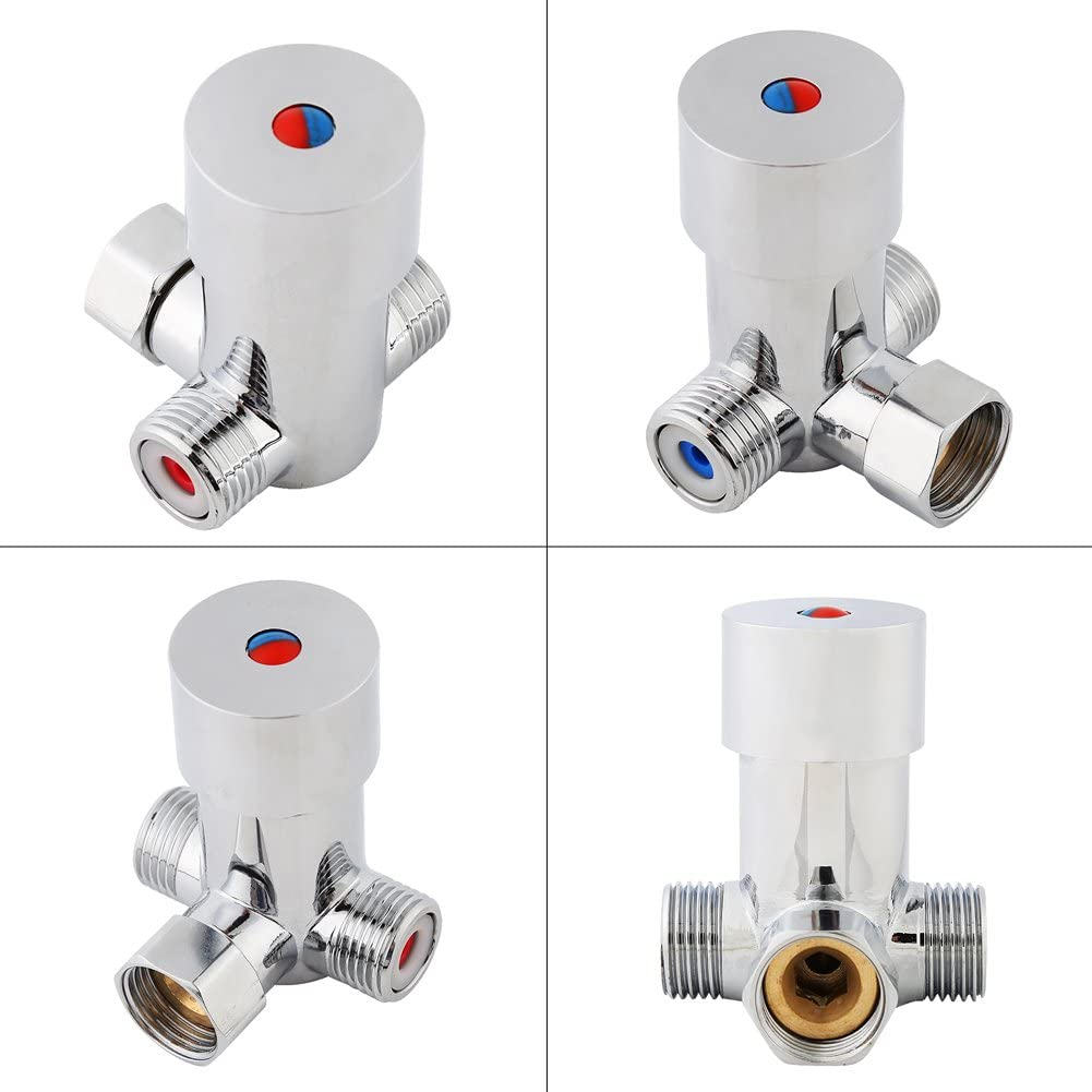Walfront shower thermostatic valve Solid Brass shower diverter valve Constant Temperature Control Valve for Bathroom Automatic Sensor Touchless Faucet G1//2 Hot Cold Water mixer valve tap 15mm