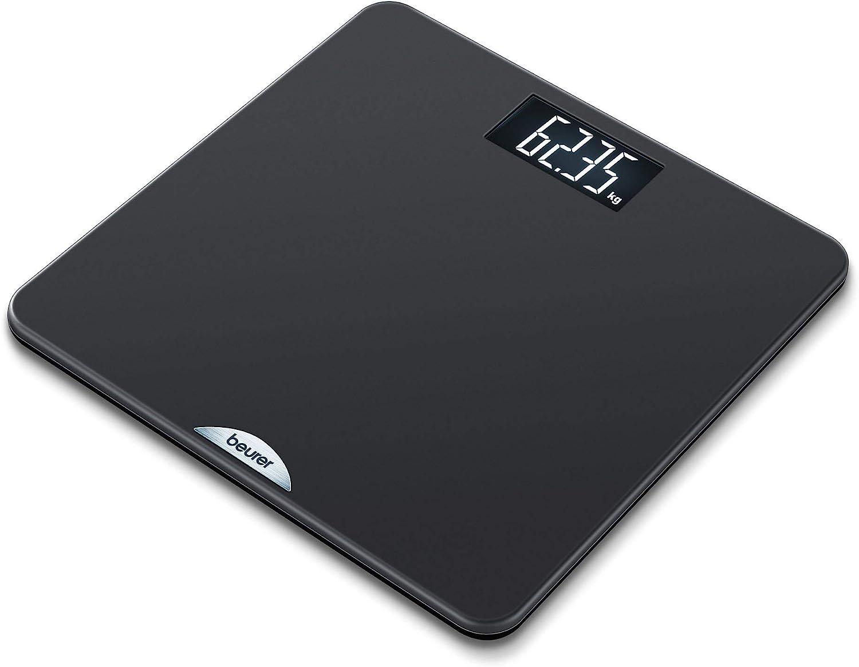 Beurer PS240 - Báscula de baño con agarre suave y superficie de goma, color negro