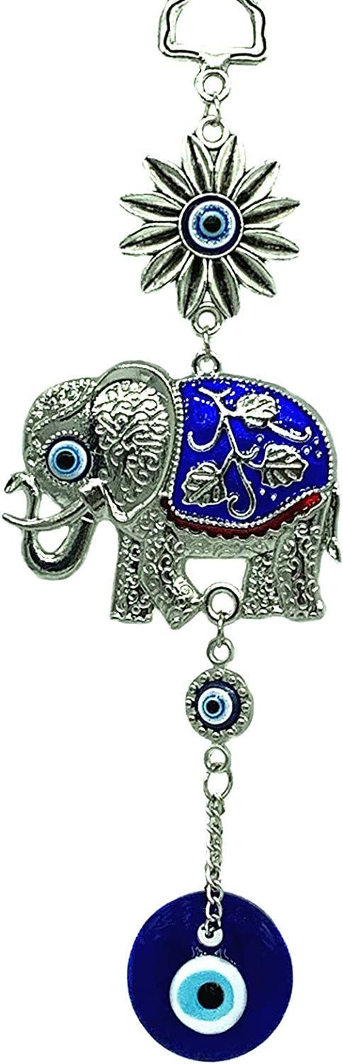 Betterdecor Turkish Blue Evil Eye with Lucky Elephant Amulet Hanging Ornament (with a Pouch) (Blue-001)
