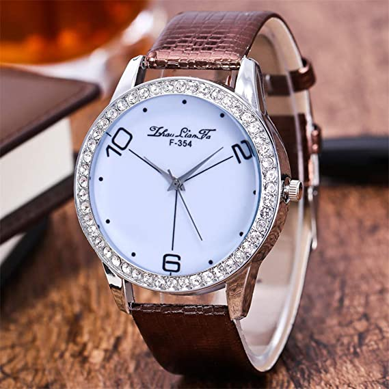 Amazon.com: Reloj de DAMA WoCoo Simple Analog Quartz Rhinestone Dial Wrist Watch with Leather Strap Watches Gifts (Black): Kitchen & Dining