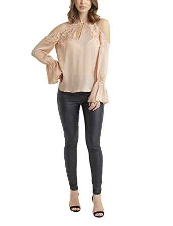 5ac85d3fce50 LIPSY Womens Lace And Pearl Trim Cold Shoulder Blouse - Pink -   Amazon.co.uk  Clothing