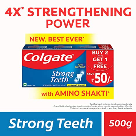 Colgate Strong Teeth Anticavity Toothpaste with Amino Shakti - 500gm (200gm - Pack of 2 with 100gm Free)
