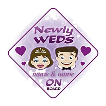 Newly Weds On Board Personalised Car Sign Wedding Just Married Gift Present