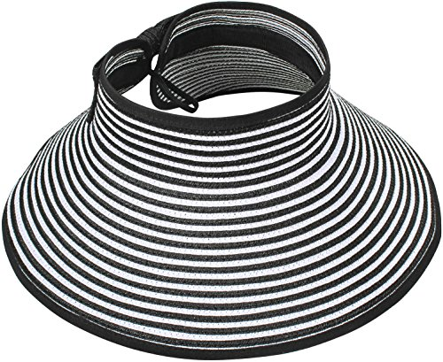 Simplicity Women's Wide Brim Roll-up Straw Hat Sun Visor Black / White Stripe (Cap Stripe Hat)