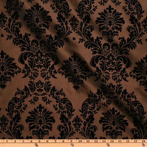 - 58'' Wide Flocked Damask Taffeta Brown Fabric By The Yard