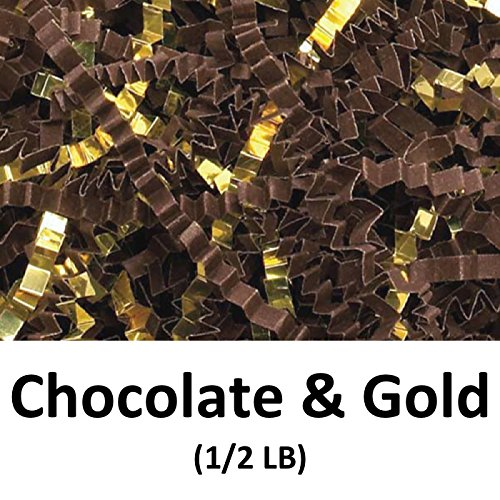Crinkle Cut Paper Shred Filler (1/2 LB) for Gift Wrapping & Basket Filling - Chocolate & Gold | MagicWater Supply (Wrap Chocolate Gift)