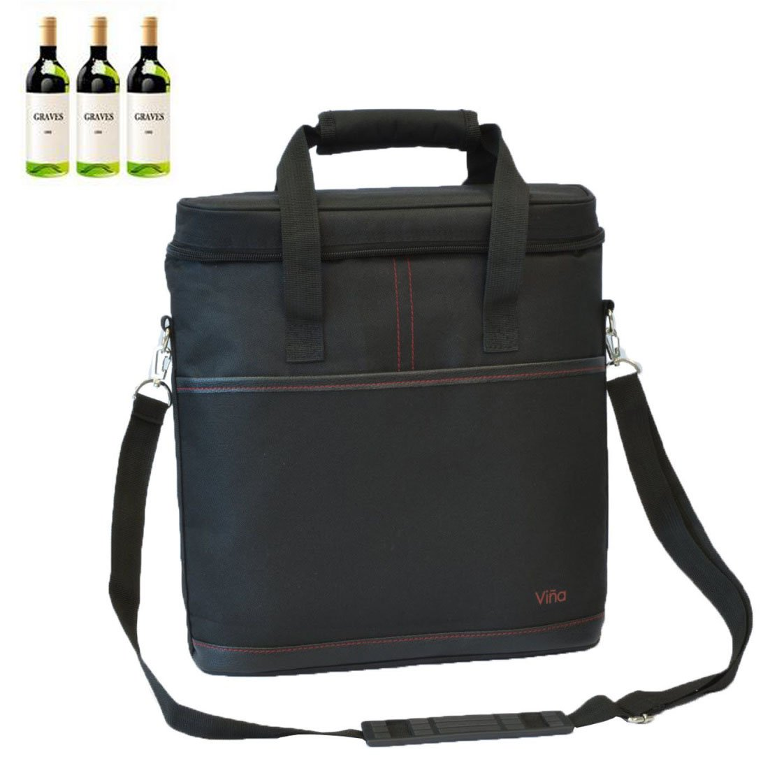 Vina 3 Bottles Wine Travel Carrier Tote, Champagne Cooler Insulated Picnic Food Bag