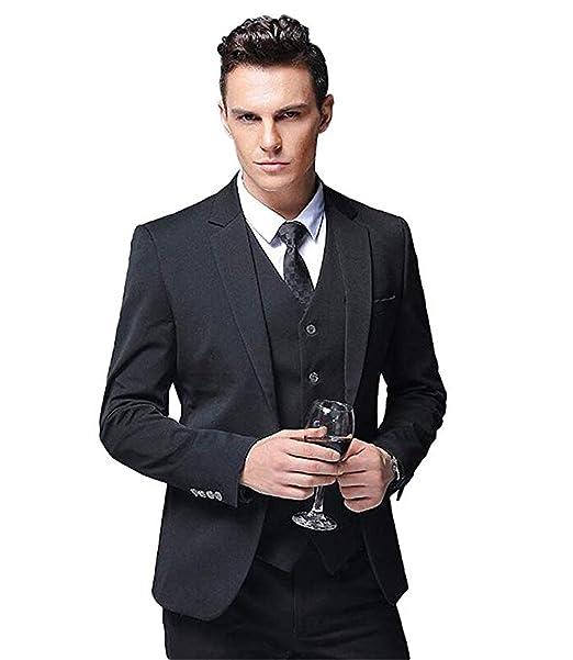 Amazon.com: Traje de hombre clásico y gris macizo, 3 piezas ...