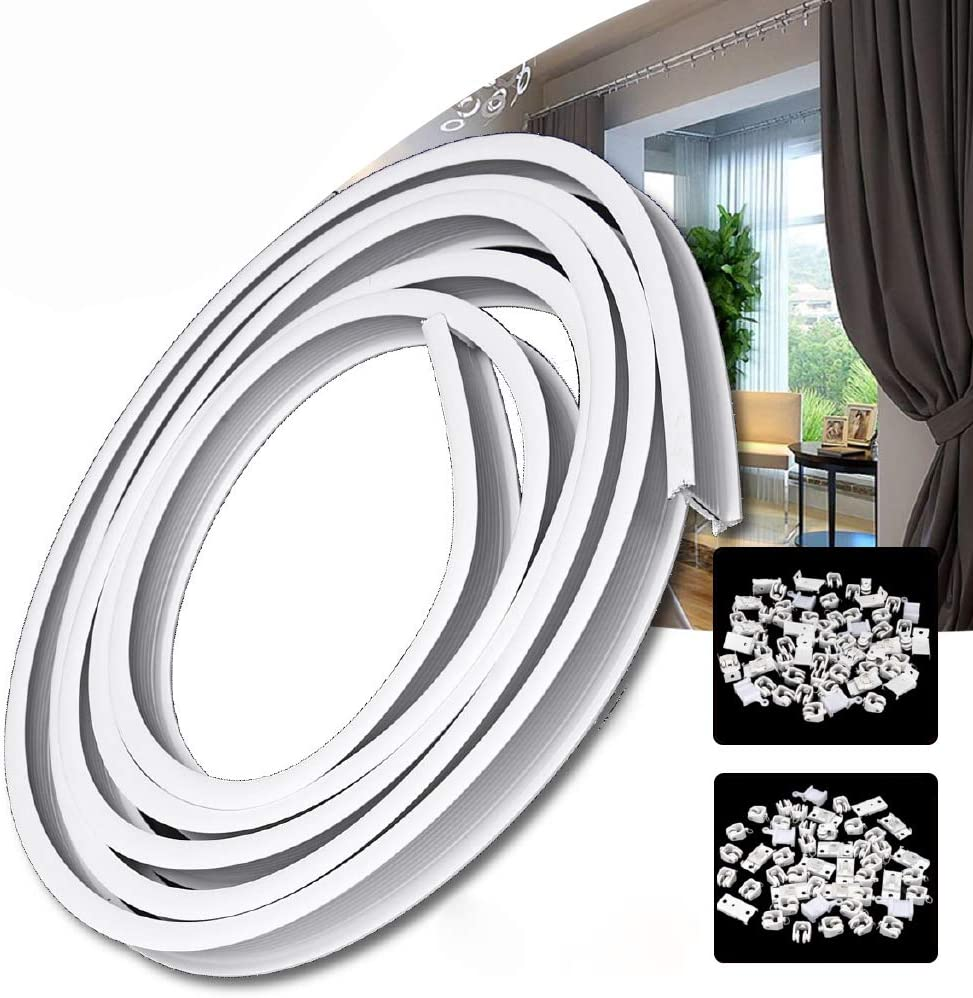 Curtain Track,Ceiling Curtain Track,Flexible Bendable Balcony Soft Curved Track Rail Slide Rail Accessories Bunk Bed Curtains RV Curtain Track,Room Divider Ceiling Track for Curtanis 5M, White