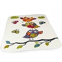 PHC Decke Kinderdecken Niedliche Eulen Creme Bunt Kuscheldecke Spieldecke, Grösse:155x215 cm