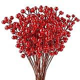 COCOBOO 25 tallos de bayas rojas artificiales de Navidad para decoración de Navidad