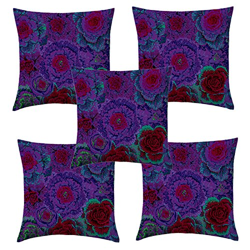 Aart Floral Pattern Printed Cushion Cover 20x20 (Set of 5) by Aart Store