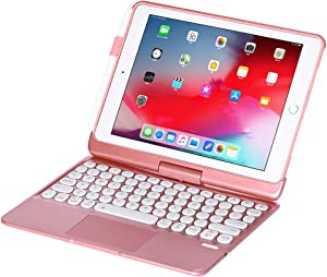 iPad Keyboard Case for iPad 2018 (6th Gen) - iPad 2017 (5th Gen) - iPad Pro 9.7 - Air 2&1-360 Rotatable - Wireless/BT - Backlit 7 Colors - iPad Case with Keyboard for iPad OS (9.7, Rose Gold)