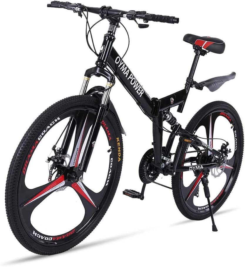 26in Adults Carbon Steel Mountain Bike 21 Speed Bicycle Full Suspension MTB