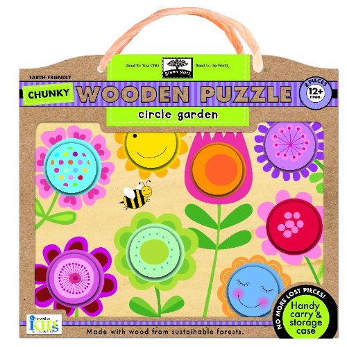 (Green Start Chunky Wooden Puzzles - Circle Garden: Earth Friendly Puzzles with Handy Carry & Storage Case )