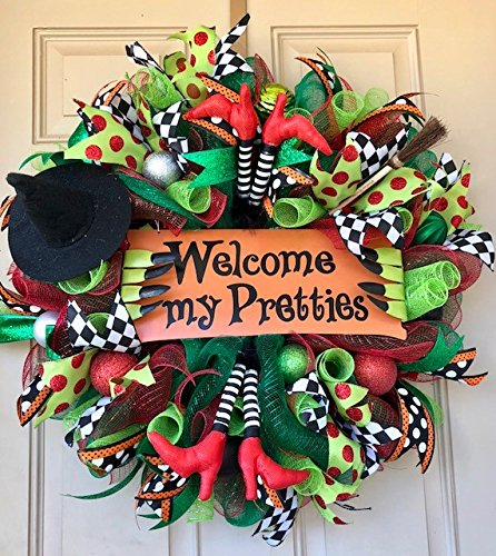Wizard of Oz Halloween Wreath with Metal Sign, Double Witch Legs, Witch Hat, and Broom with my Company Name!