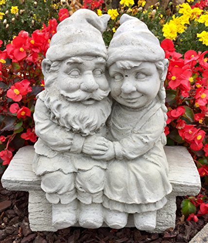 Whimsical Gnomeo and Juliet Gnome Statue Handmade in USA made of cast stone concrete great for indoor our outdoor 5 finishes painted stained or unpainted (Unpainted) (Usa Garden Gnome)