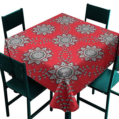 (Warm Family Red Mandala Restaurant Tablecloth Sketchy Leaves Swirl Ivy Victorian Mesh Design Inspired Image for Kitchen Dinning Tabletop Decoration W36 x L36 Vermilion Grey Black White)