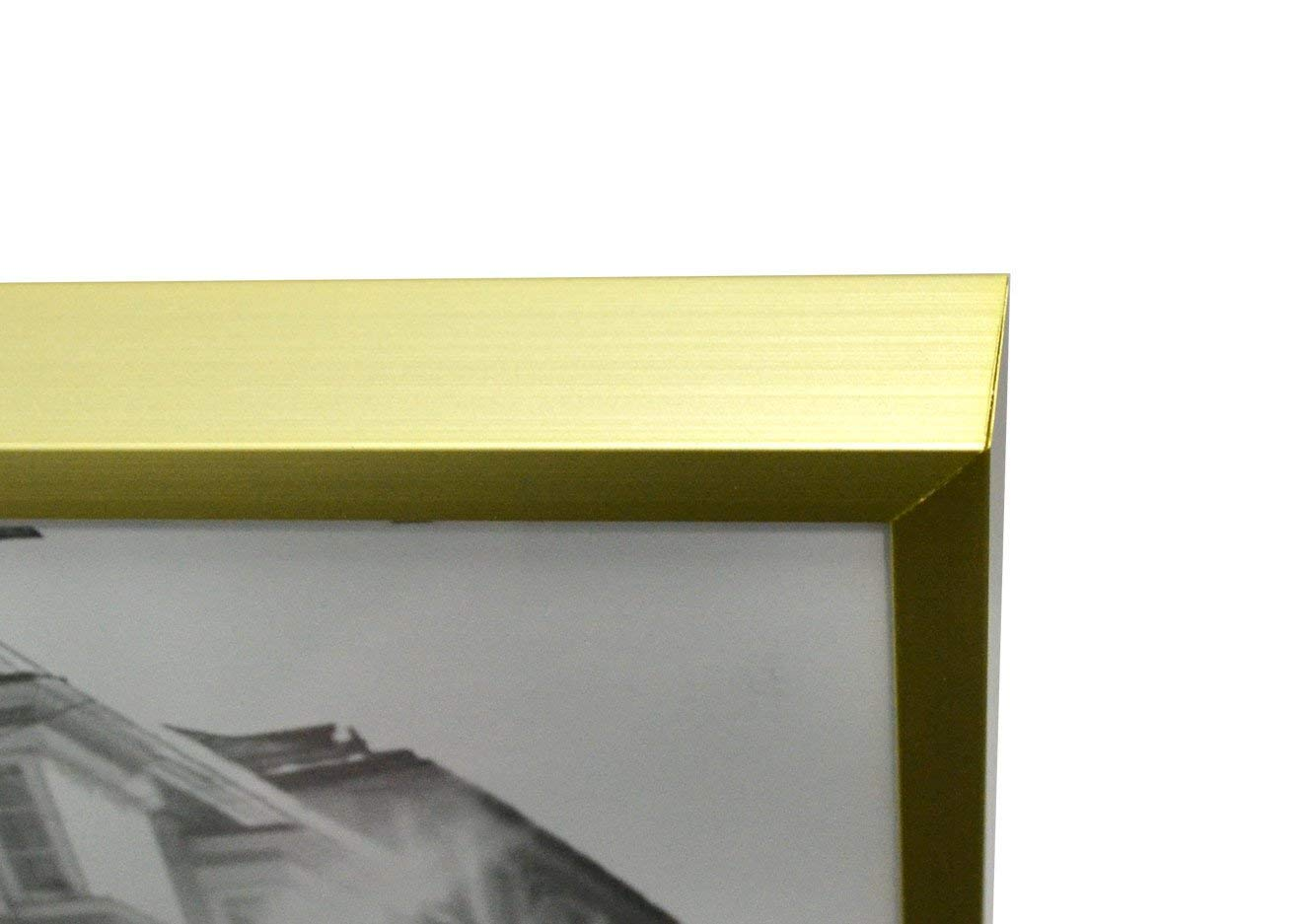 AAG1620M-01x3-SF0199X3 Set of 3,Metal Wall Photo Frame Collection 16 x 20 Golden State Art 3 Aluminum Gold Photo Frame with Ivory Color Mat for Picture /& Real Glass
