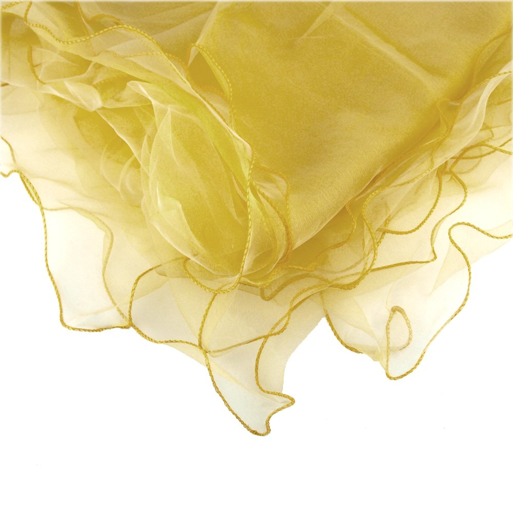 Homeford Organza Table Cover with Overlay Ruffled Edge, Gold, 80-Inch