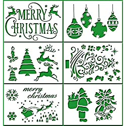 MAGICMAI Christmas Stencils Template, Pack of 6 - Merry Christmas,Santa Claus,Christmas Tree,Snowflakes,Bulbs,Reindeers for Christmas Decoration Card DIY Drawing Painting Craft Projects, 7x4.7 inch