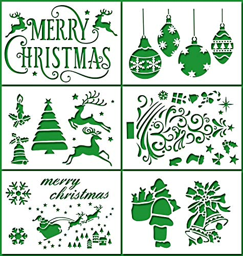 tencils Template, Pack of 6 - Merry Christmas,Santa Claus,Christmas Tree,Snowflakes,Bulbs,Reindeers for Christmas Decoration Card DIY Drawing Painting Craft Projects, 7x4.7 inch ()