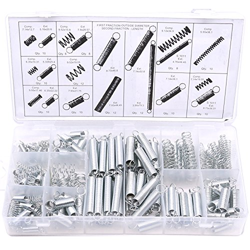 - Glarks 200Pcs Zinc Plated Extension and Compression Industry Spring Assortment Kit
