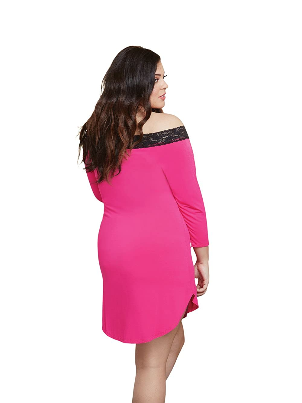 1926beb599d Amazon.com  Dreamgirl Women s Plus Size Jersey and Lace Sparkling Crystal   Sexy  Sleepshirt  Clothing