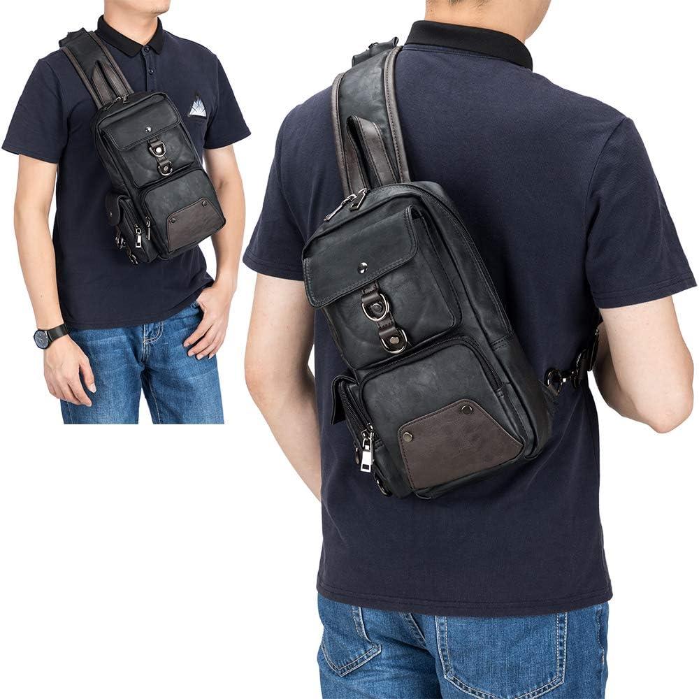 SPAHER Men PU Leather Chest Bag Crossbody Shoulder Sling Bag Backpack Messenger Bag Outdoor Daypack Business Casual Shoulder Tablets Bag for Sports Hiking Camping Shopping Travelling