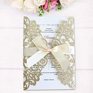 50X Champagne Laser Cut Wedding Invitation Card Envelope Personalized Printing