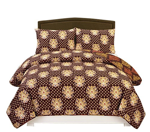 Couture Home Collection Vibrant Luxurious Super Fine Reversible Damask Printed 3 Piece Quilt Set Miranda (Plum King)