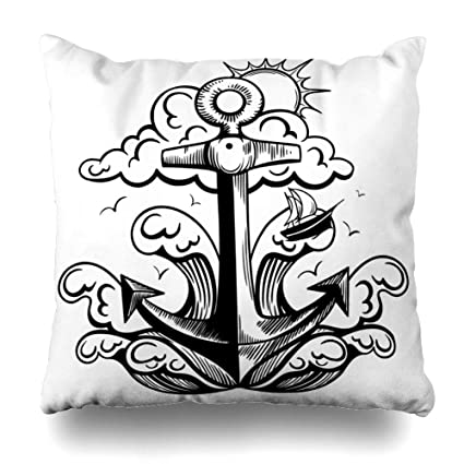 Amazon com: Ahawoso Throw Pillow Cover Drawing Blue Adventure Retro