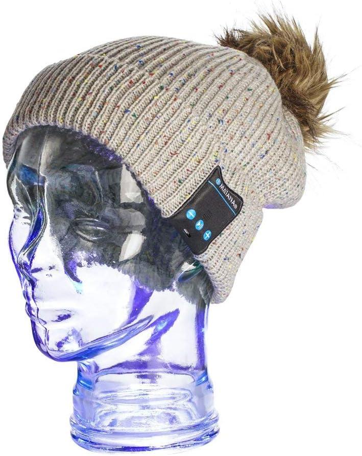 MATANA Audiófonos Wireless Unisex/ Gorro Para Invierno para Audio y Música. Auriculares Inalámbricos. Bluetooth Hat con Estéreo, Altavoces y Micrófono incorporado. Gorro Sombrero Beanie de Lana Para I